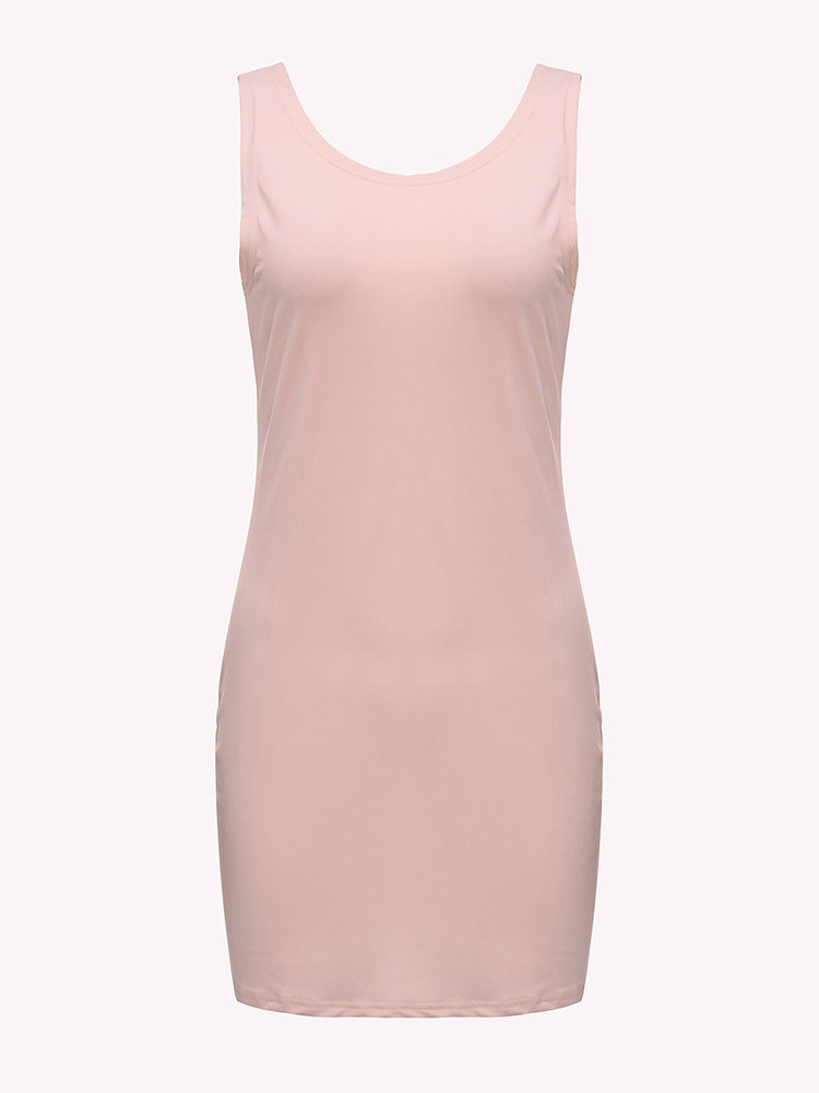 Sexy Solid Sleeveless Backless Pencil Mini Dress For Women