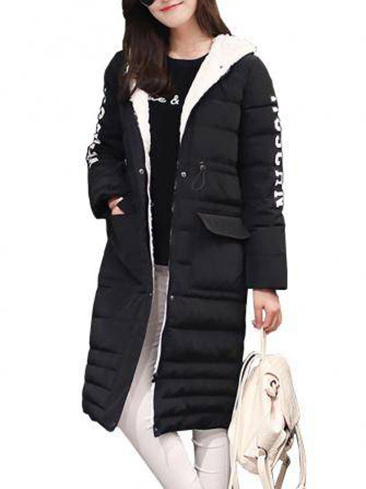 Women Letter Printed Long Sleeve Zipper Button Hooded Wadded Coat