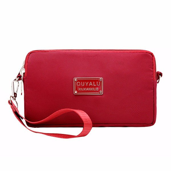 There Layers Zipper Nylon Lightweight Purse 6.5inch Phone Bag Shoulder bags Crossbody Bags For Women