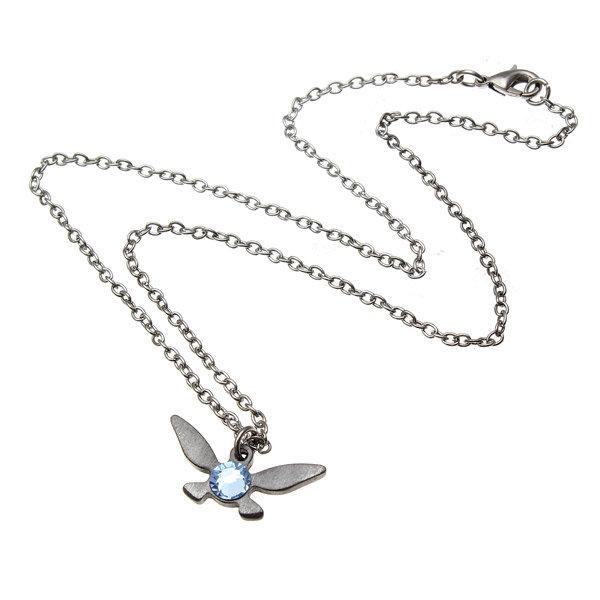 Blue Rhinestone Butterfly Pendant Necklace