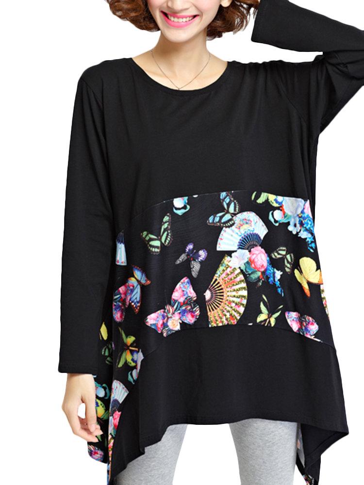 Plus Size Casual Women Printing Patchwork Round Neck Irregular Blouse