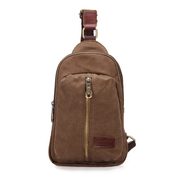 Men Casual Canvas Chest Bags Outdoor Sports Travel Durable Crossbody Bag