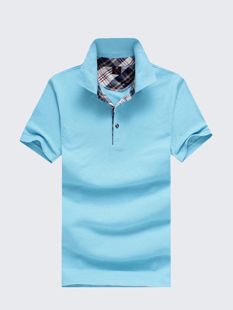 Мужская весна-лето Многоцветный отложной воротник сплошной цвет хлопка рубашки поло