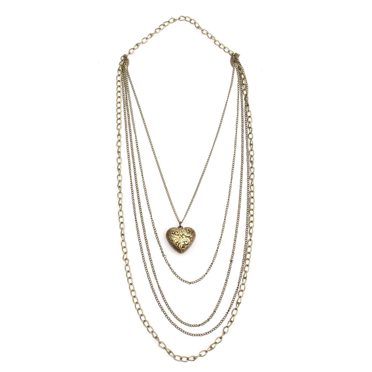 Heart Pendant Multilayer Sweater Necklace