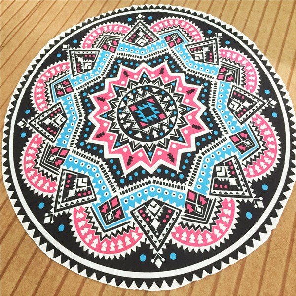 Round Geometry Printing Beach Towel Cotton Scarf Shawl Yoga Mat Tapestry Wall Hanging