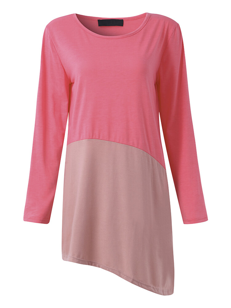 Women Casual Stitching Irregular Long Sleeve O-neck Dress