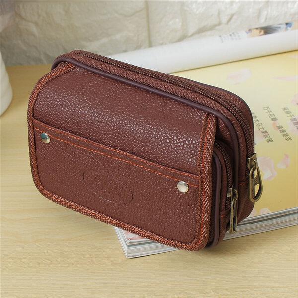 Men PU Leather Waist Bag Casual Running Travel Wallet