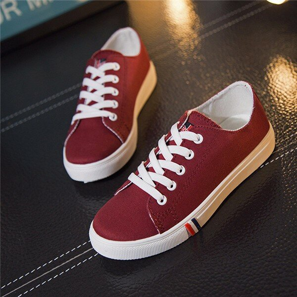 Pure Color Узелок Повседневная Холст Спорт Все Match Спортивные плоские туфли