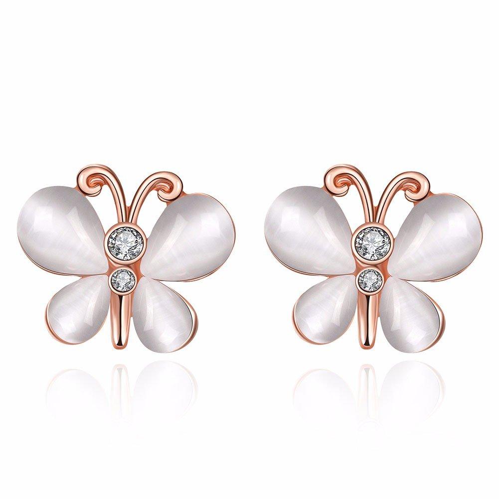 Sweet Luxury Earrings Alloy Butterfly Opal Rhinestone Women Earrings