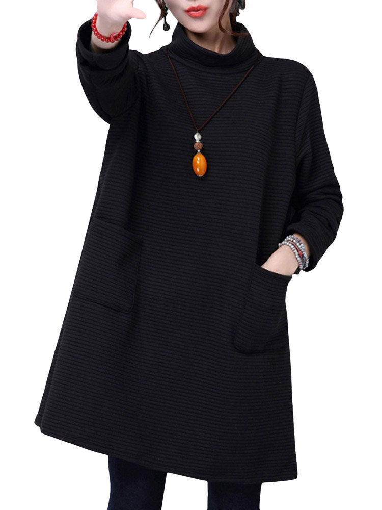 Thick Turtleneck Loose Cotton Casual Long Sleeve Women Dress