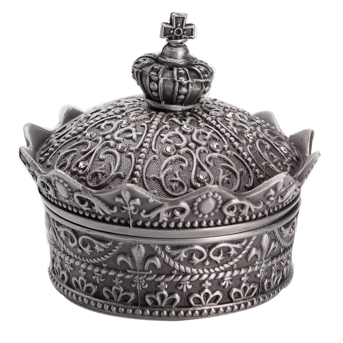 Carved Flower Crown Shaped Jewelry Box