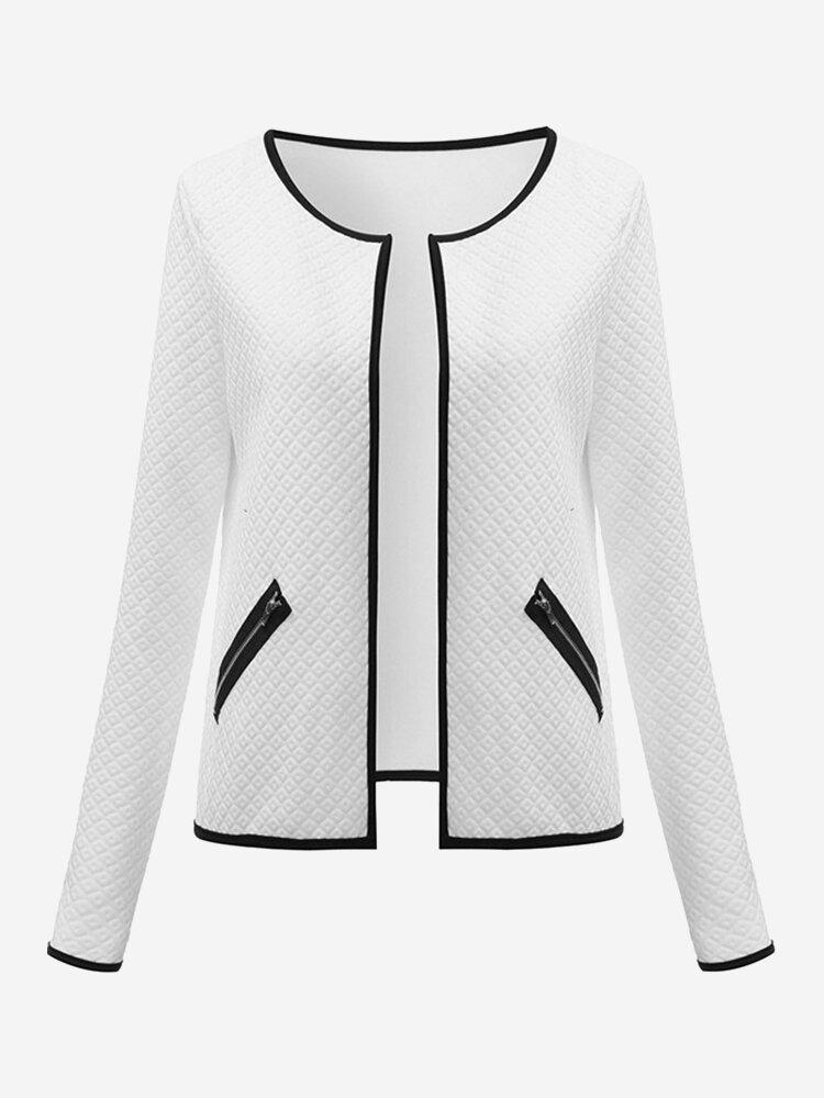 Celmia Повседневный длинными рукавами Zipper Карманный Лоскутная куртка для женщин