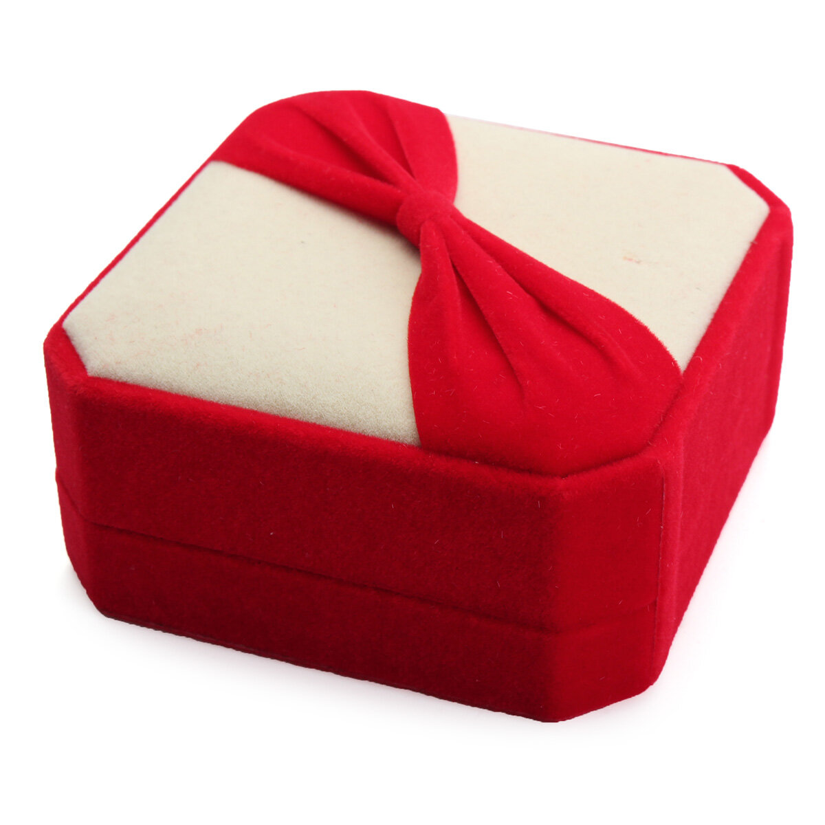 Octagonal Bowknot Flocking Jewelry Boxes