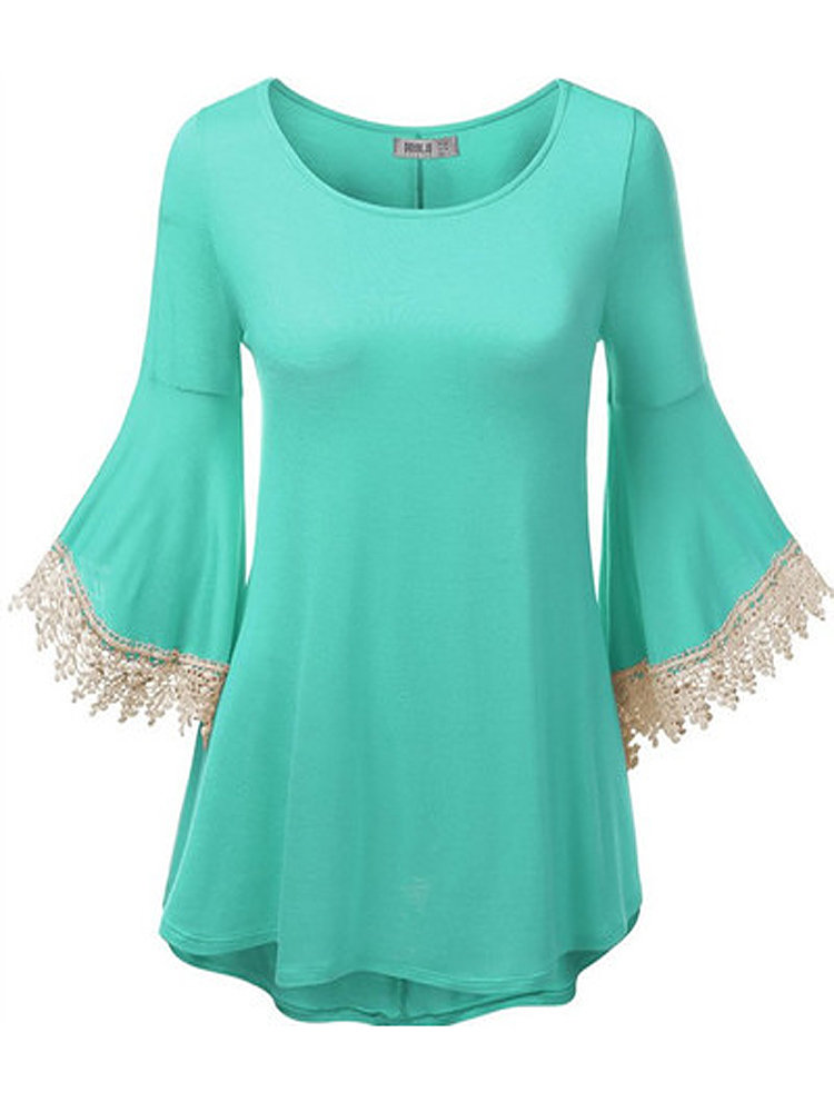 Women Lace Hollow Out Patchwork Flare Sleeve Irregular T-shirt