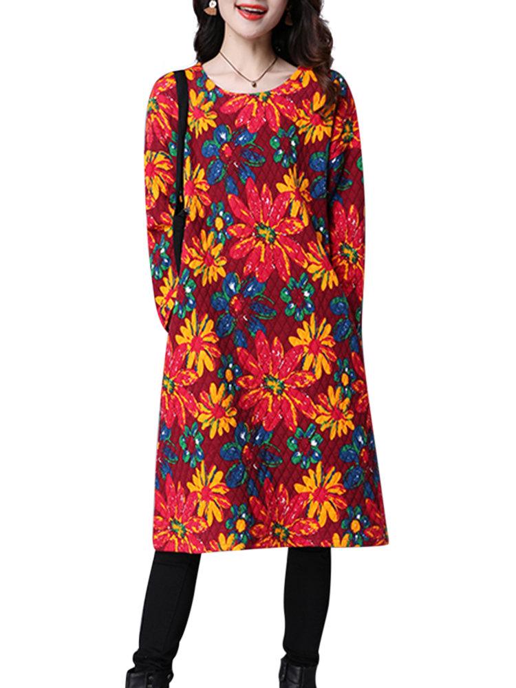 Осень Зима хризантема Печатный O-образным вырезом с длинным рукавом Straight платье
