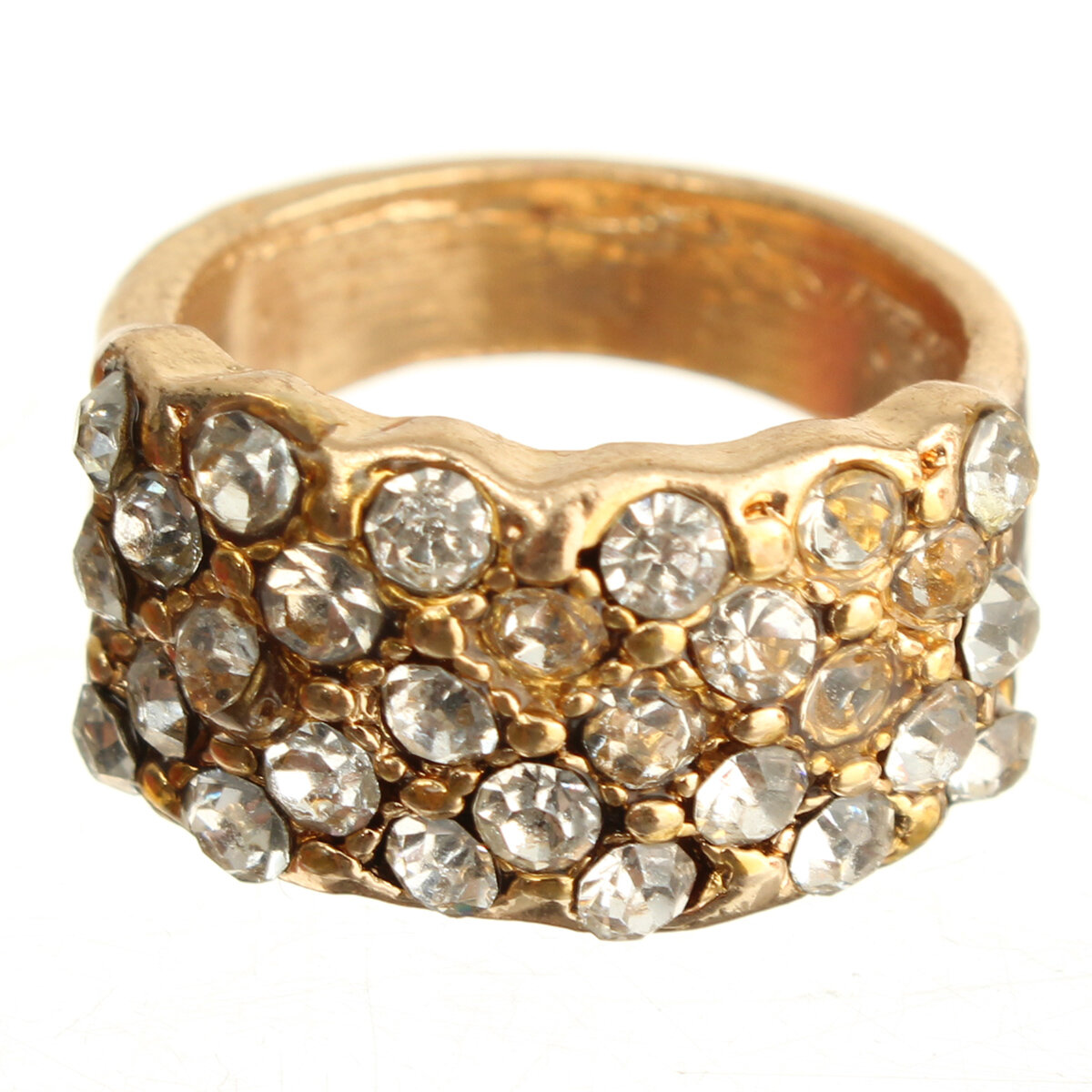 Rhinestone Crystal Stainless Steel Wide Band Ring