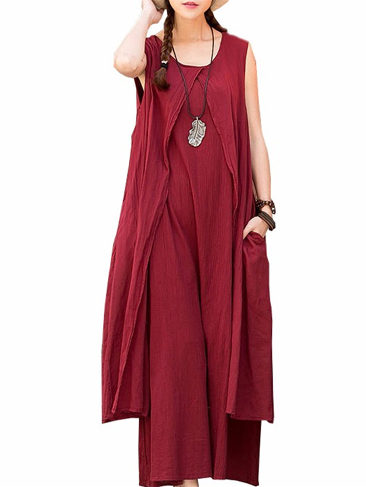 Vintage Women Sleeveless Solid Loose Casual Long Maxi Dress