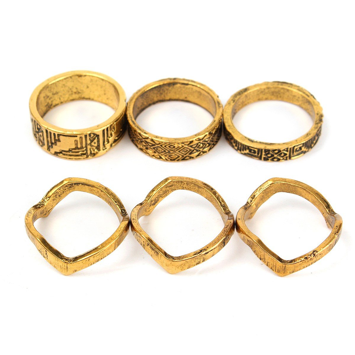 6Pcs Punk Gold Plated Knuckle Rings