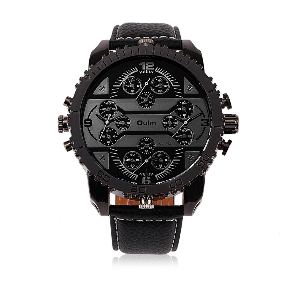 OULM Men Watch Four Movements Casual Leather Men Watch