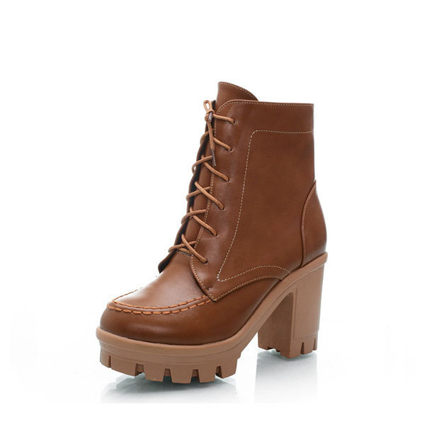 Big Size Chunky Heel Ankle Lace Up Pure Color Boots