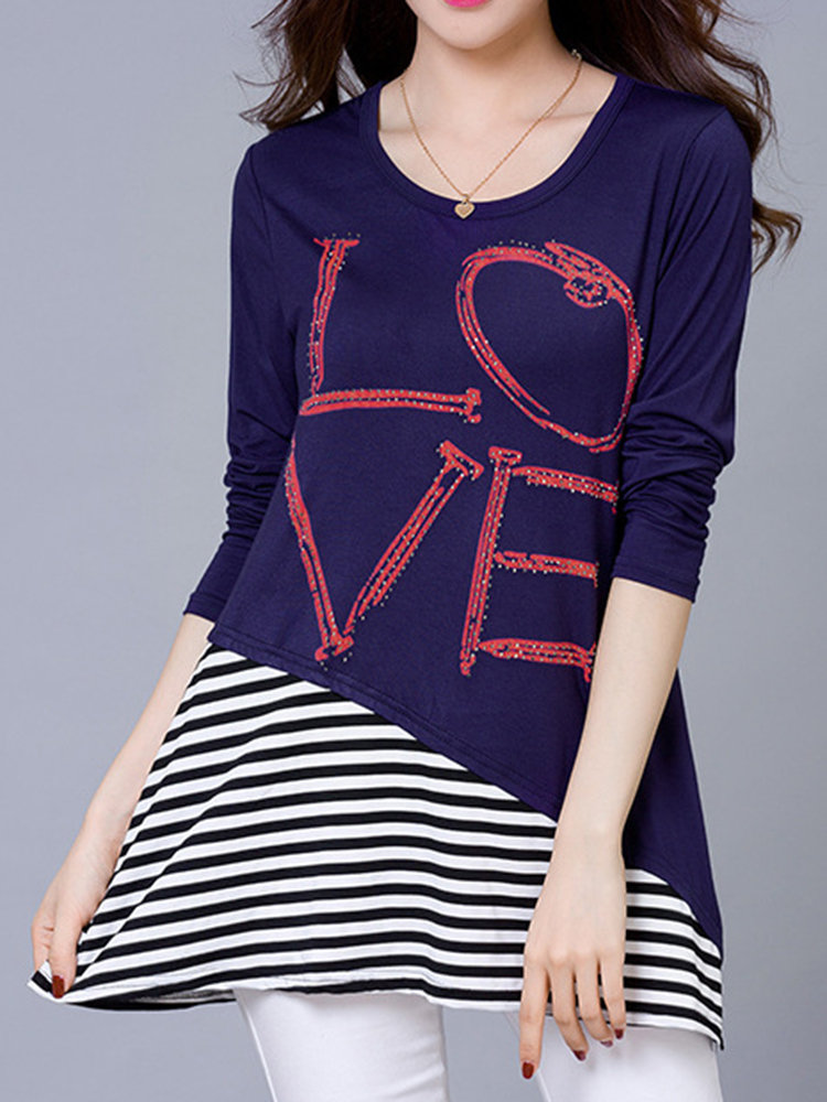 Women Casual Letter Stripe Print Long Sleeve O-neck T-shirt