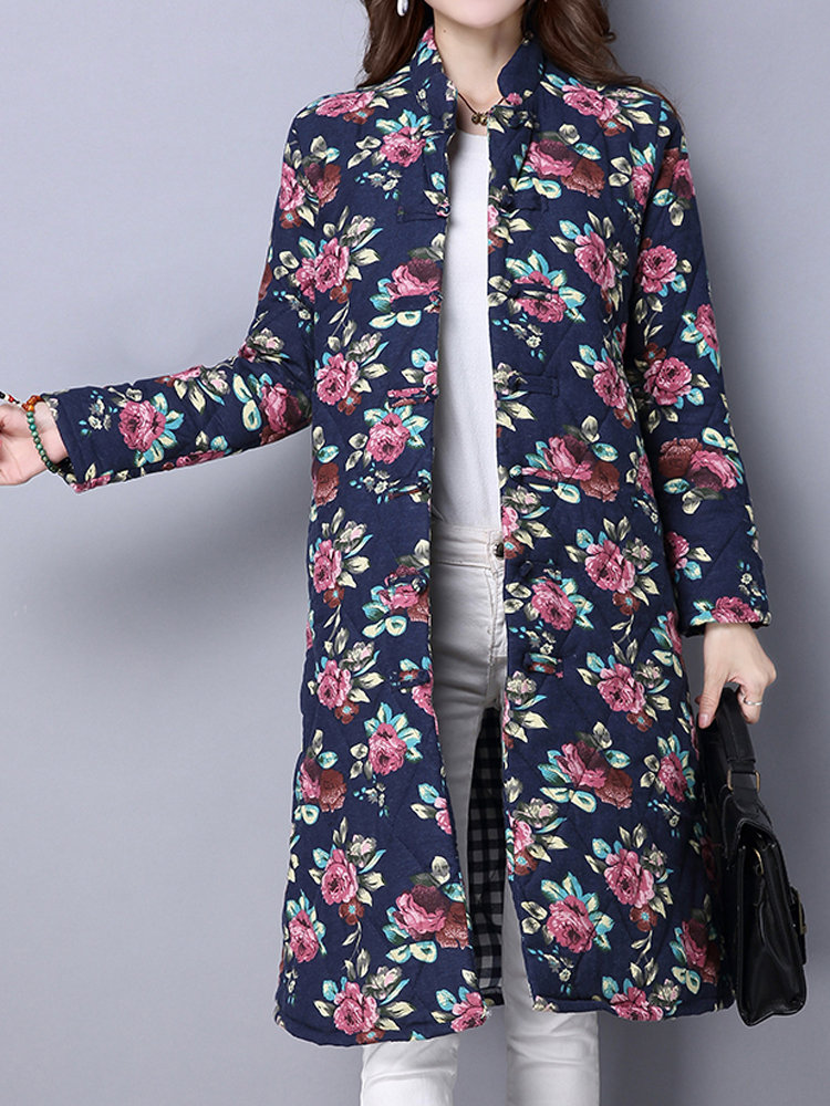 Vintage Women Floral Printed Long Sleeve Stand Collar Trench Coat