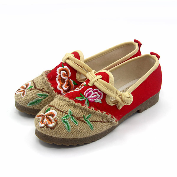 Embroidery Chineseknot Flower Color Match Slip On National Wind Flat Shoes