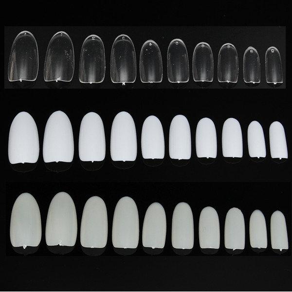 500 Pcs Full Round French False Nail Art Tips Acrylic White Natural Transparent