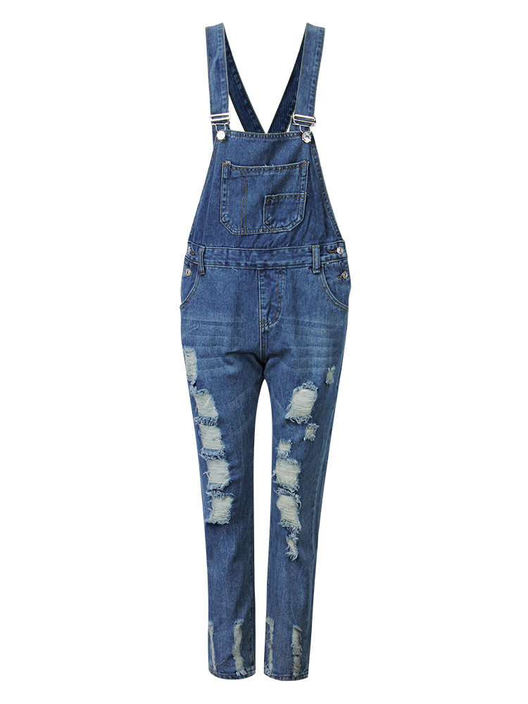 Casual Pure Color Strap Pocket Hole Denim Trousers Jumpsuit For Women