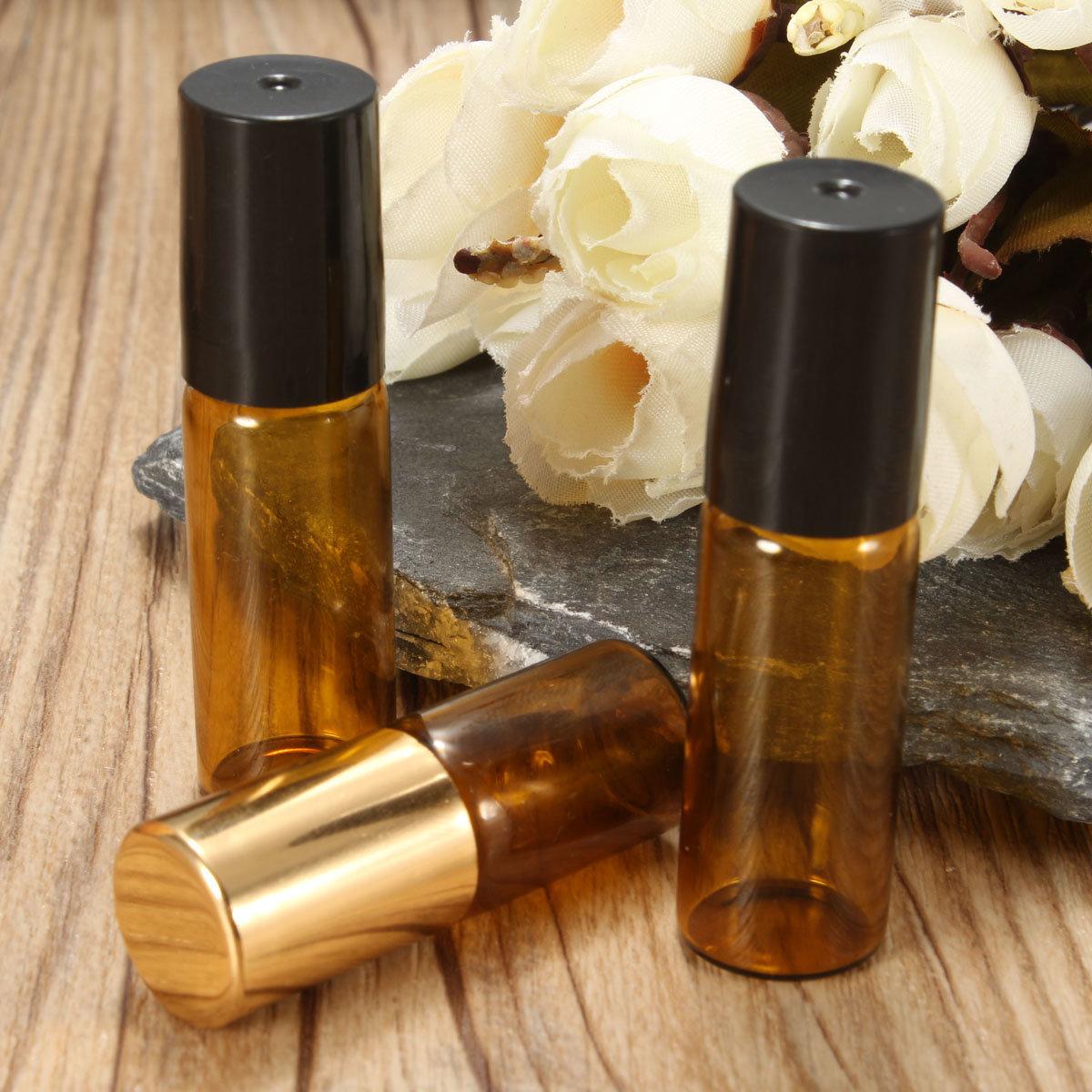 3Pcs/Kit Amber Small Refillable Bottle Perfume Essential Bottles Roll On Glass
