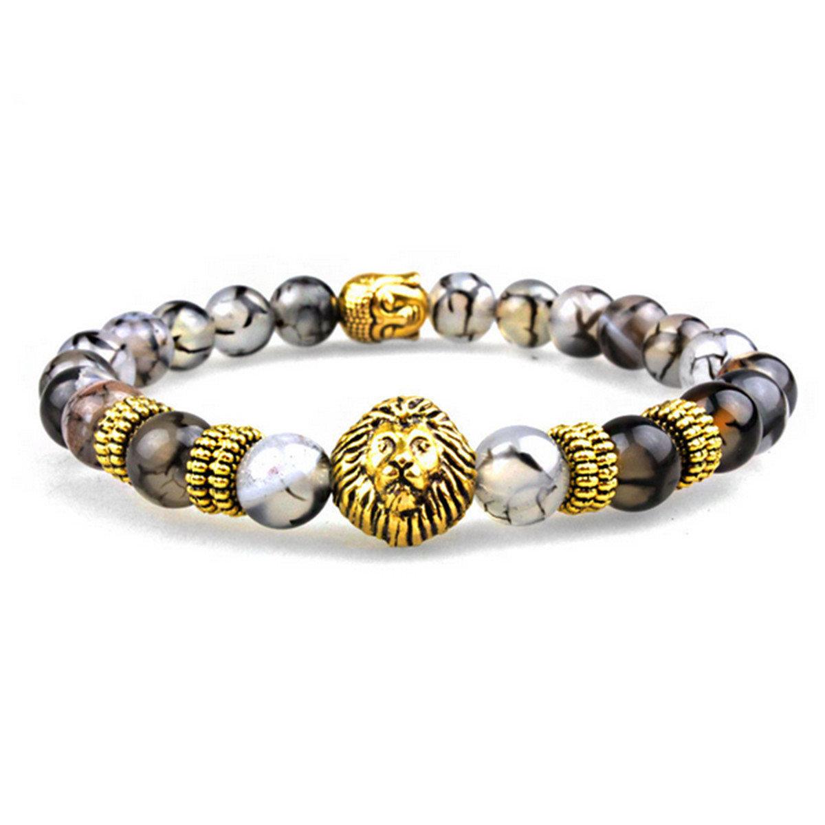 Lava Stone Gold Lion Buddha Beaded Bracelet