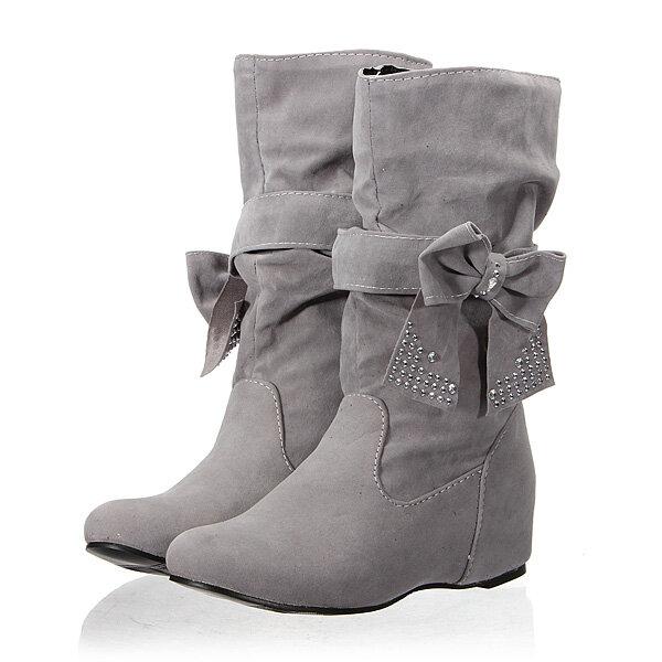 Women Butterfly Knot Hidden Heel Boots