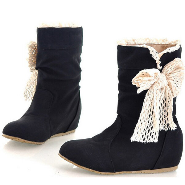Women Butterfly Knot Pu Leather Mid Calf Snow Boots