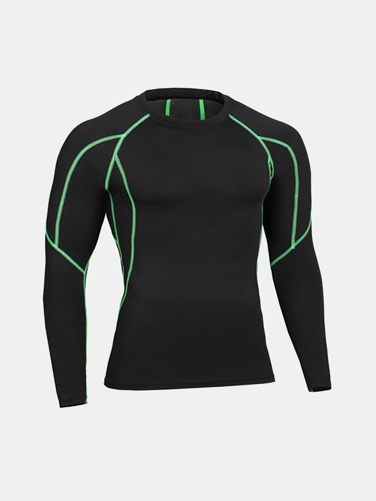 Mens Muscles Traning Elastic Quick-drying Breathable Sports Fitness Tights Long Sleeve T-shirt
