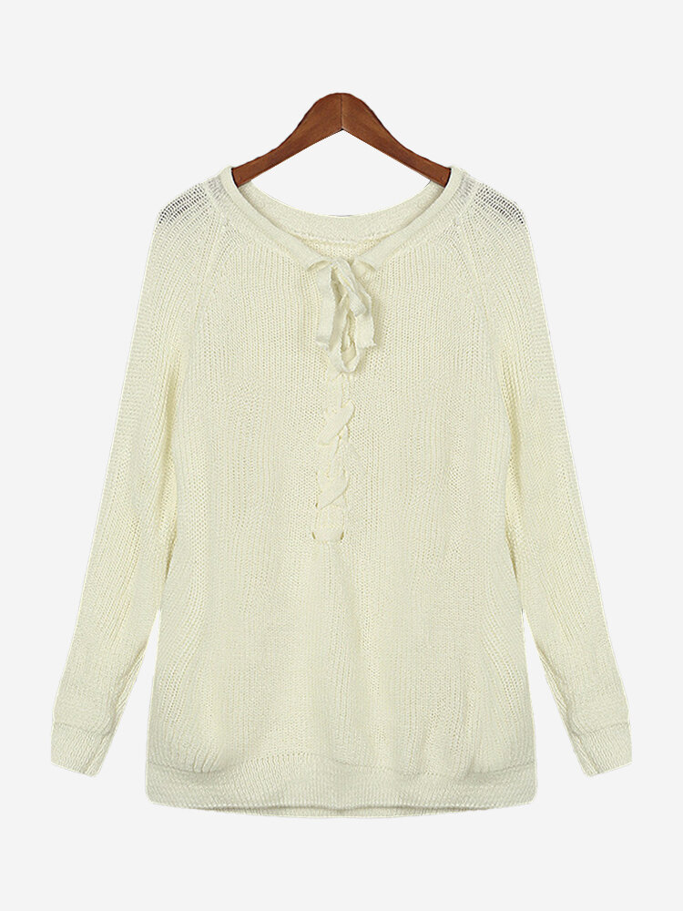 Women Casual Bandage Solid Color Long Sleeve Sweater