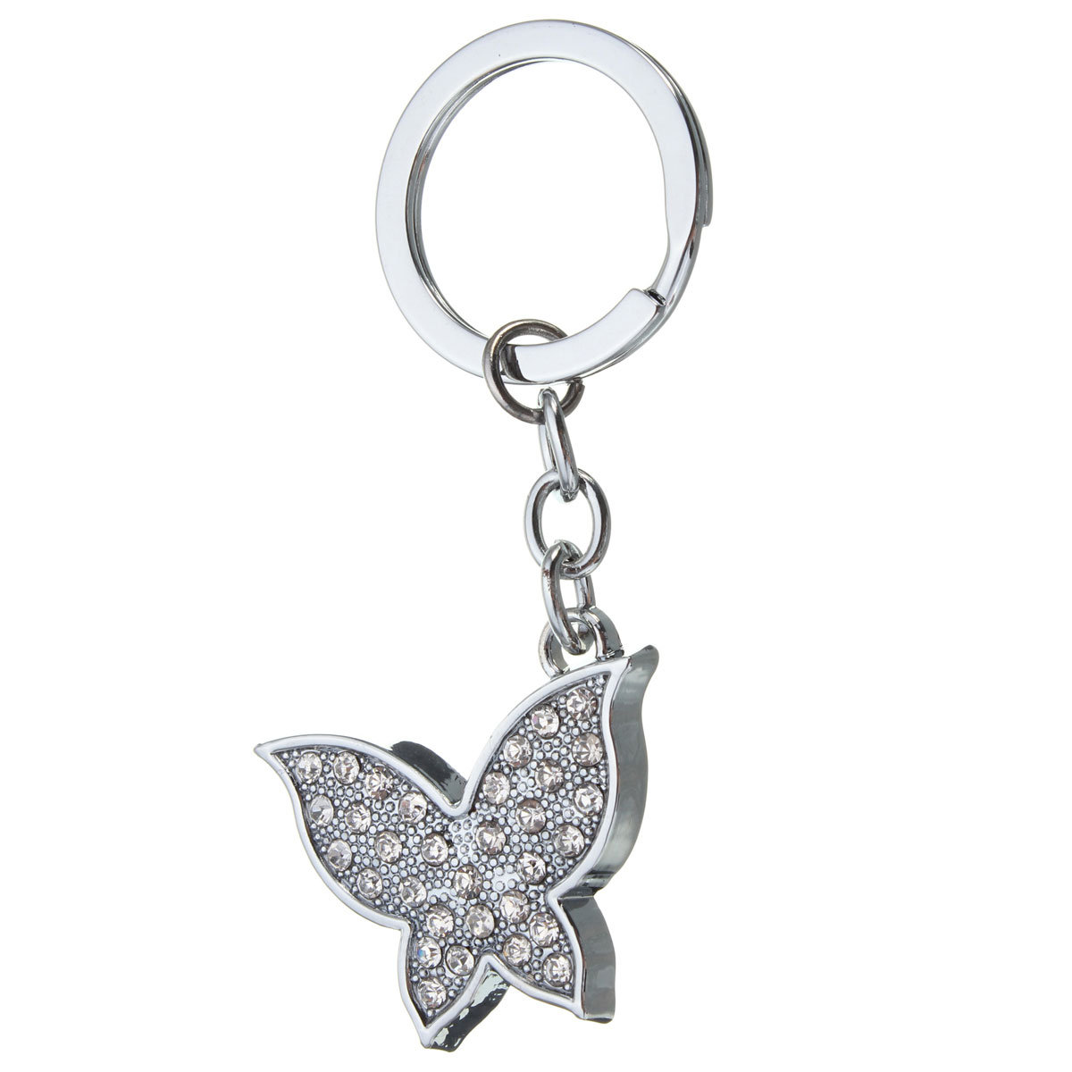 Silver Crystal Butterfly Pendant Keychain