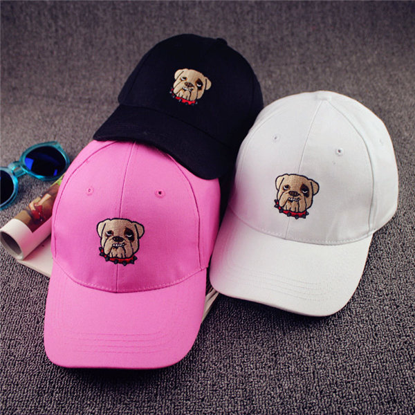 Men Women Curved Hip-hop Caps Adjustable Bulldog Embroidery Pattern Baseball Hats