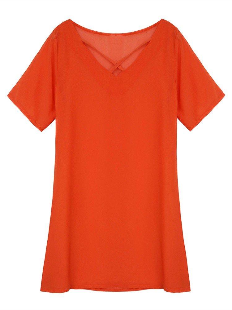 Женщины с коротким рукавом Крест V шеи Чистый цвет Мини платье