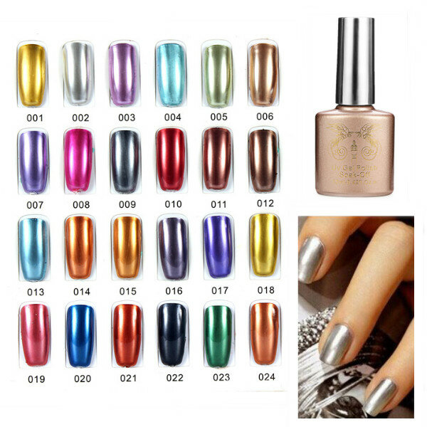 24 Colors Soak off Metallic Color UV Gel Nail Polish