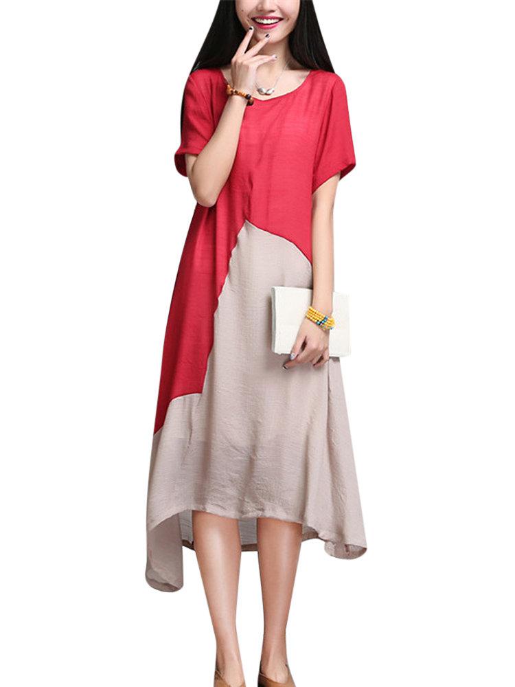 Женщины Цвет Контраст Лоскутная Нерегулярное льняное платье