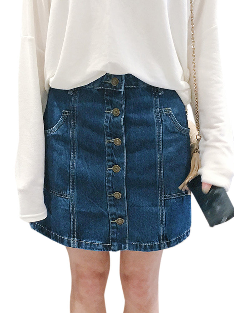Button A-Line Women Casual Pocket Denim Skirt