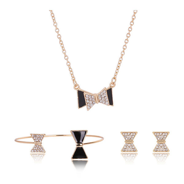 Rose Gold Alloy Bowknot Crystal Necklace Earrings Jewelry Set