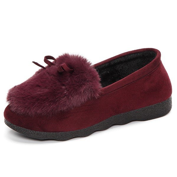 Ears Fur Lining Casual Cute Slip On Flat Shoes For Women