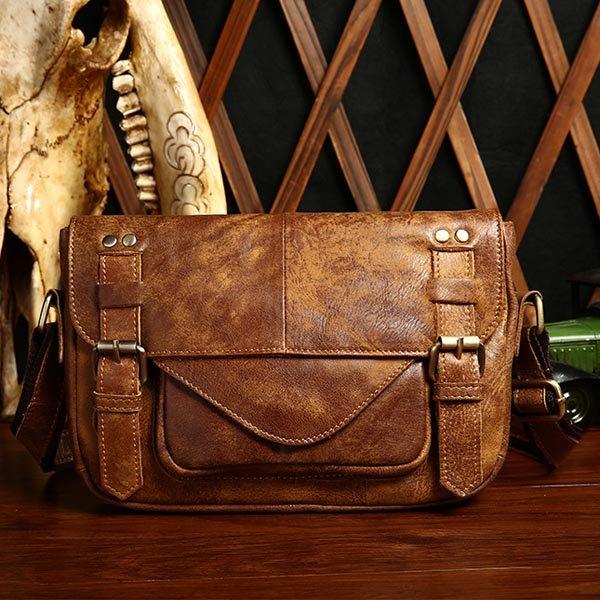 Men Genuine Real Leather Retro Coffee Brown Casual Crossbody Messenger Bag Briefcase