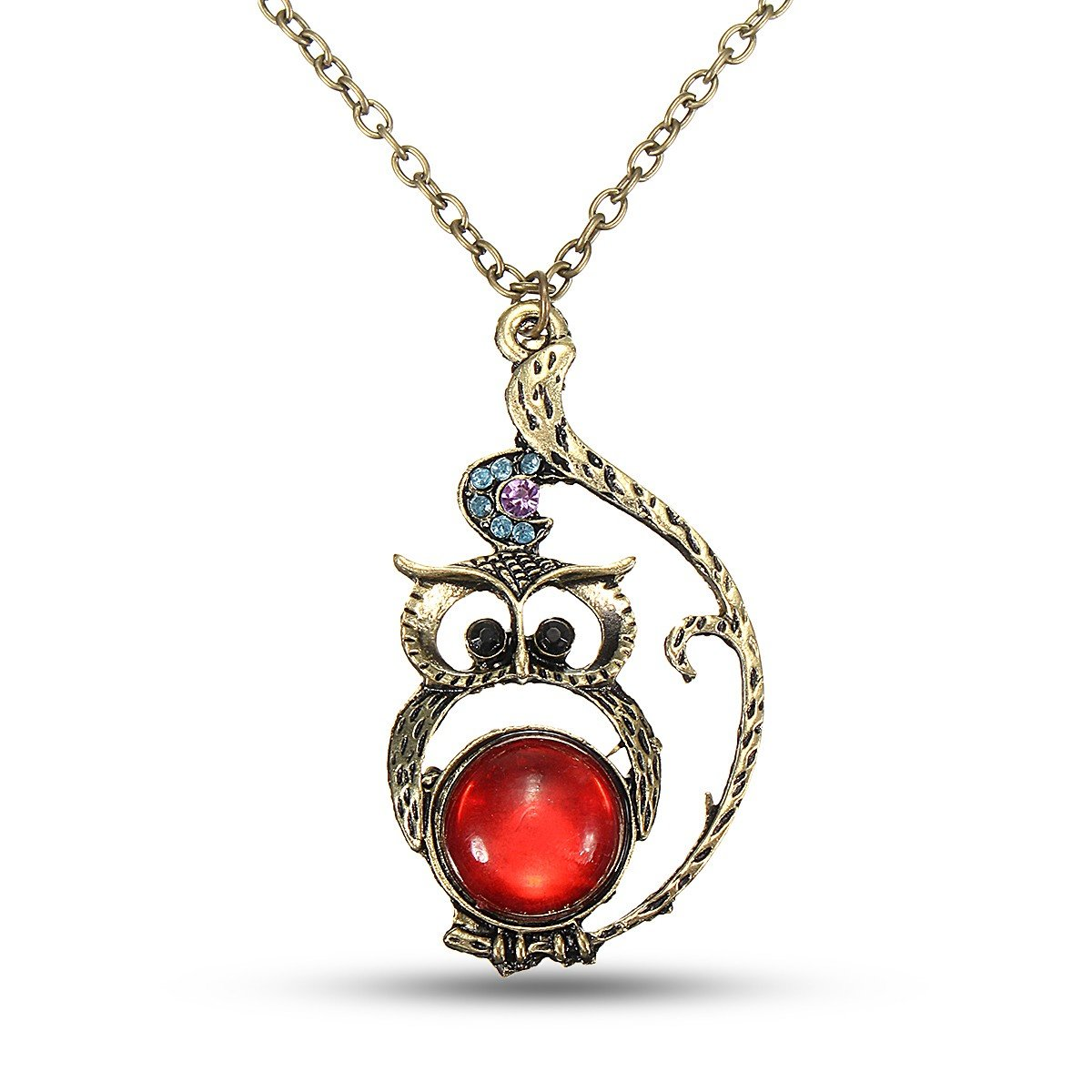 Vintage Red Crystal Belly Owl Pendant Necklace