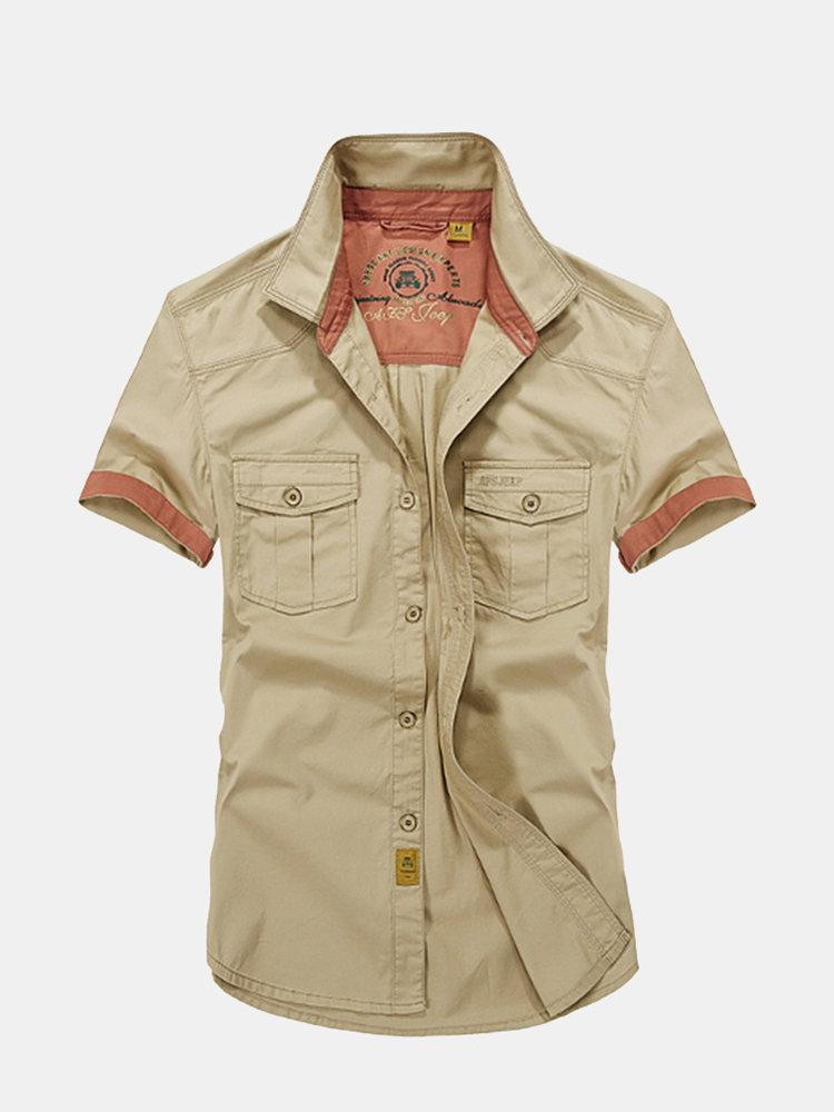 Лето Большой размер Свободный Военный стиль отложным воротником с коротким рукавом хлопок рубашки для мужчин