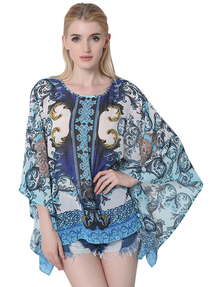 Plus Size Women Ethnic Loose Printing Batwing Sleeve Chiffon Blouse