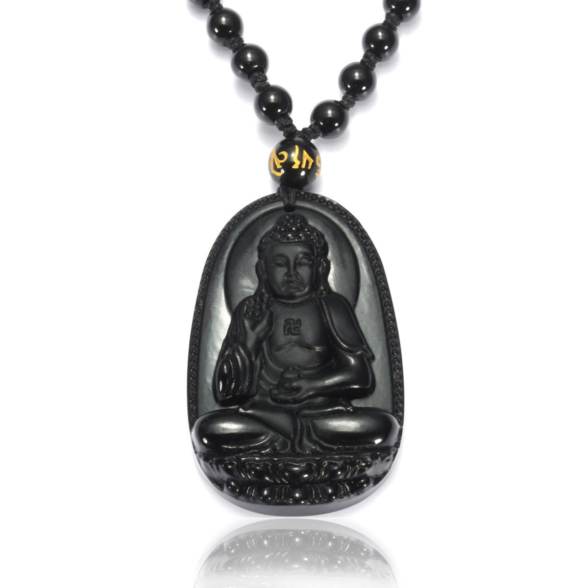 Vintage Buddha Necklace Black Obsidian Buddha Raise Hands Necklace