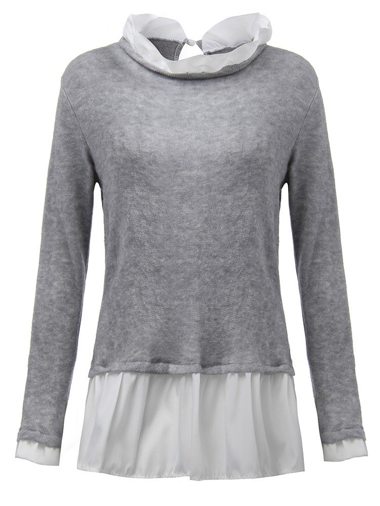 Women Long Sleeve Back Button Flared Pleated Sweater