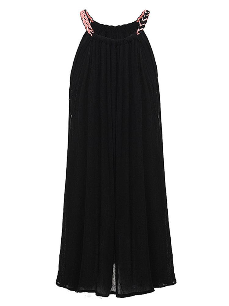Женщины ремешок Чистый цвет Мини платье Summer Beach одежда